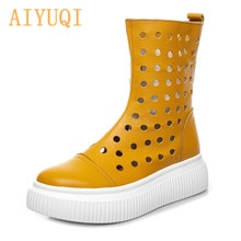 AIYUQI Women's Sandals Hollow 2021 Summer Cowhide High-hole Breathable Women's Sandals Platform Cand