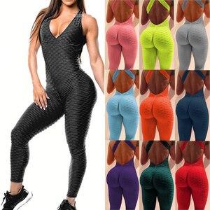 Fitness Women Sport Suit Jumpsuit 2021 Sexy Sleeveless Tracksuit Yoga Set Backless Gym Running Sportswear Leggings Workout Sport