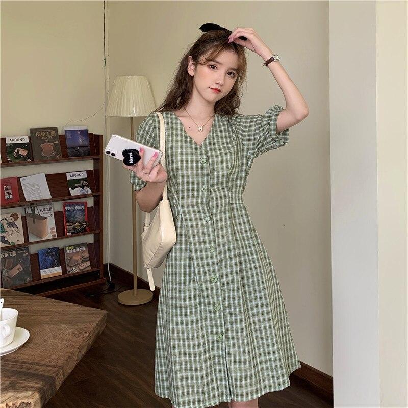 Yellow Plaid Shirtdress Women's Summer French Mid-Length Dress Waist Slimming Platycodon Grandiflorum First Love Short Sleeve