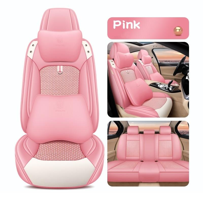 مقعد السيارة يغطي ل سيدان SUV دائم الجلود العالمي مجموعة كاملة خمسة مقاعد وسادة حصيرة الجبهة و الغطاء الخلفي الوردي Deisgn