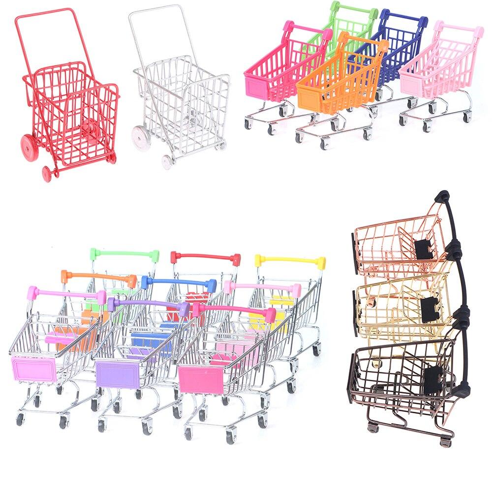 Fashion Mini Shopping Cart Trolley Toys Dollhouse Room Decoration Pretend Play Kid Preschool Doll House Furniture Toy 1/2pcs