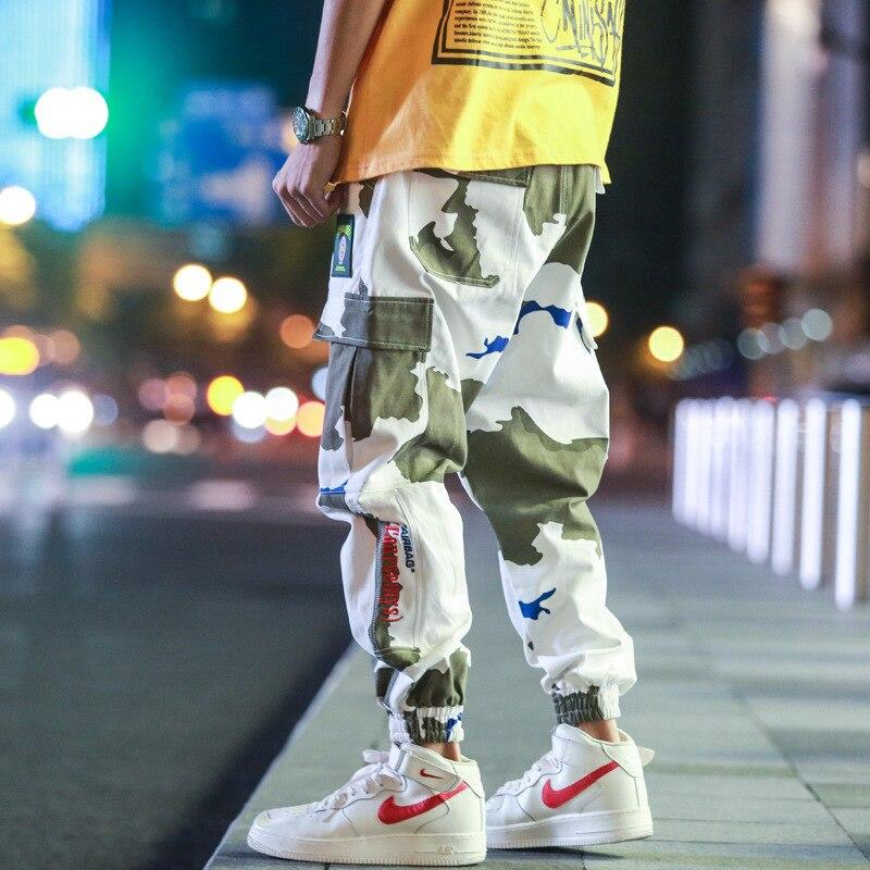 Штаны-карго HOUZHOU мужские с трикотажным рисунком, джоггеры, спортивные брюки-карго, повседневные мешковатые хлопковые уличные штаны в стиле ...