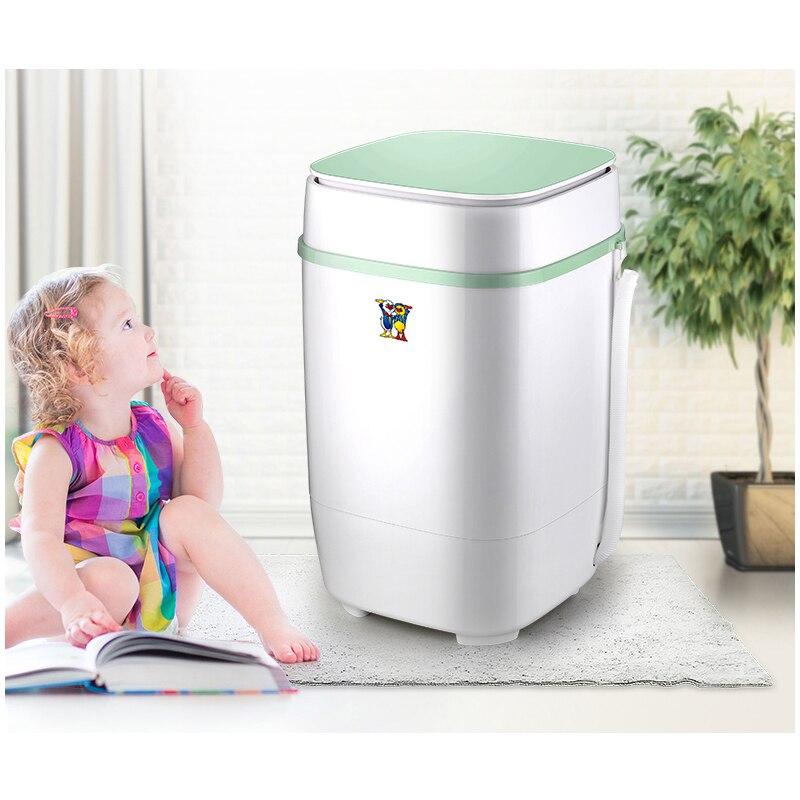 Mini lavadora biónica de 220V, 3,5Kg, con un solo cilindro, gran capacidad, lavable a mano, pequeña rueda de ondas semiautomática