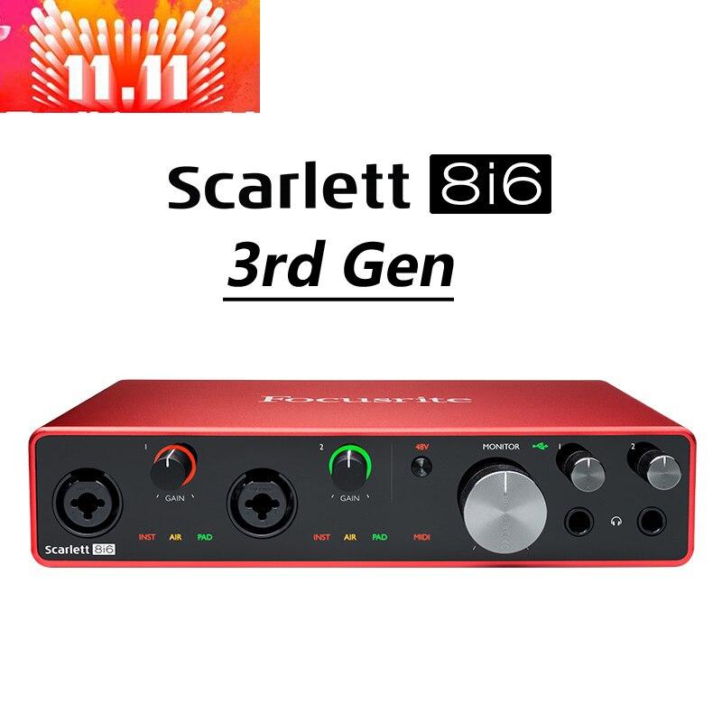Focusrite-scarlet 8i6 الجيل الثالث ، 8 in/6 out ، USB ، تسجيل ، بطاقة صوت ، واجهة صوت للجيتار الكهربائي