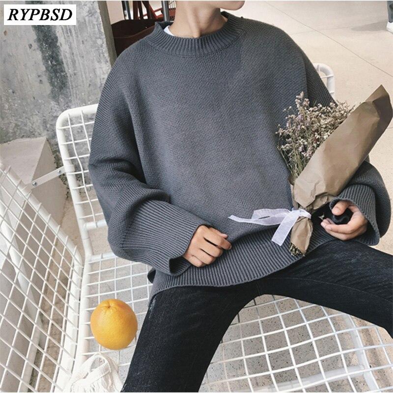 Свитер мужской зимний, теплый пуловер, теплый однотонный Модный корейский Свитер оверсайз с длинным рукавом, повседневный мужской свободны...