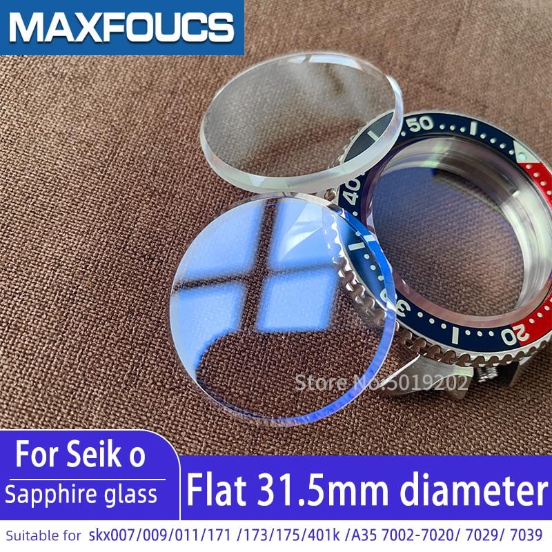 Para Seiko cristal zafiro plano Skx007 SKX009 SKX011 7s26 SKX171 SKX175 7002 cristal reloj piezas de cristal con chaflán AR azul