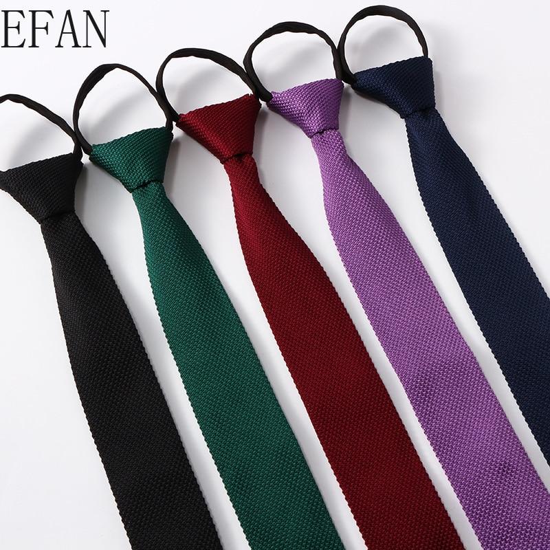 6cm Men's Knitted Knit Leisure Zipper Tie Fashion Skinny Narrow Slim Lazy Neck Ties for Men Skinny Woven Black Navy Wine Cravat