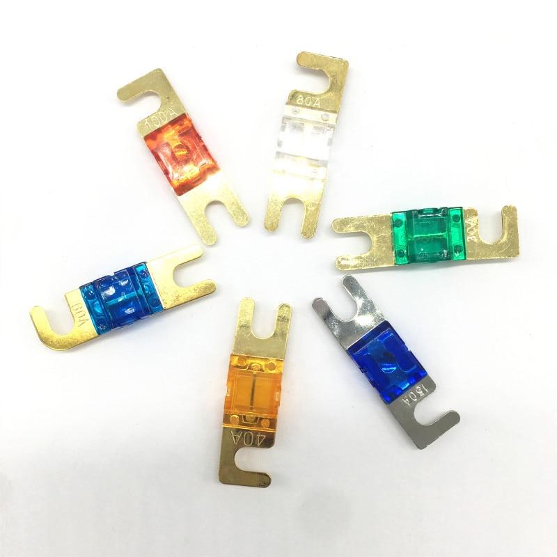 ANL Chapado en pendientes Auto fusibles Mini coche de Audio estéreo fusible AFS 30A 40A 60A 80A 100A 150A fusible automático fusibles