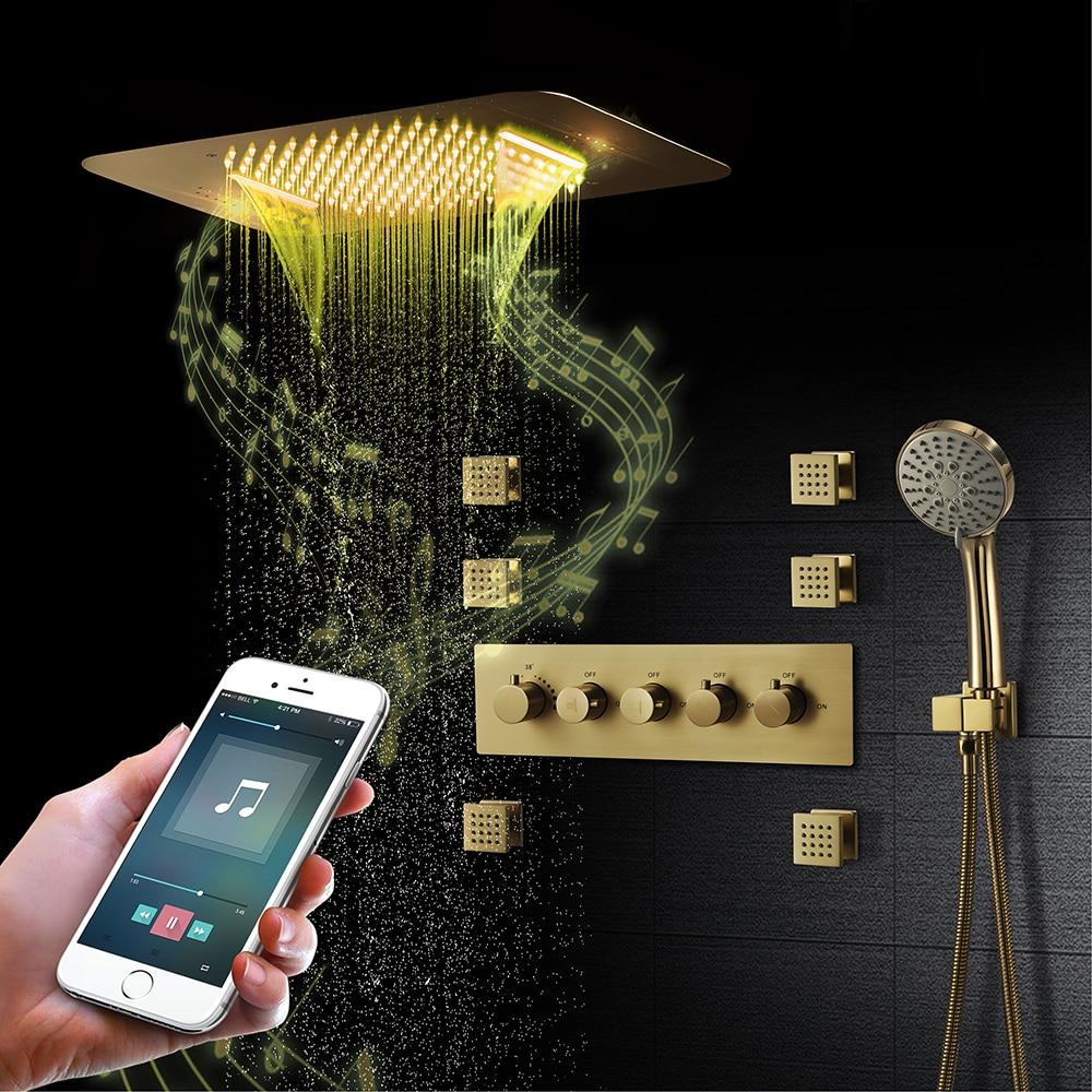 نحى الذهب دش ثرموستاتي نظام الحمام صنبور الحديثة الذكية LED دش السقف لوحة بلوتوث الموسيقى دش