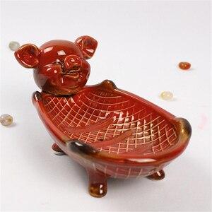 Pig Shaped Ceramic Plate Storage Tray Living Room Desktop Decoration Crafts Soap Box Home Decor Accessories