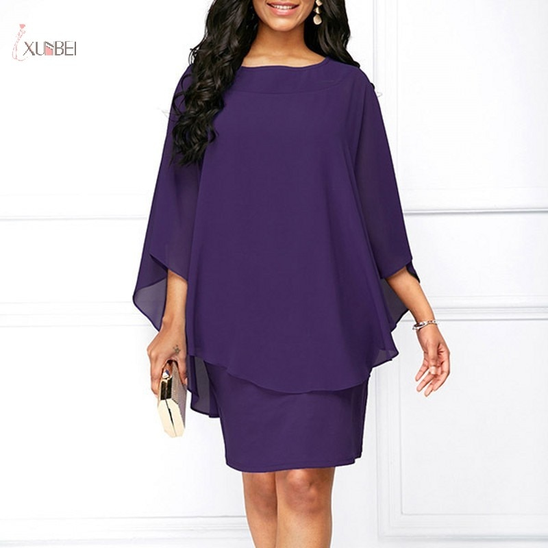 Chiffon Plus Size Mother Of The Bride Dresses 2019 Three Quarter Sleeve Wedding Party Dress Formal E