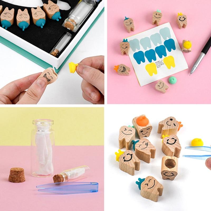 Деревянный органайзер для детских зубов, коробка для выпадающих зубов, коллекция сувениров для мальчиков и девочек, милые подарки для детей...