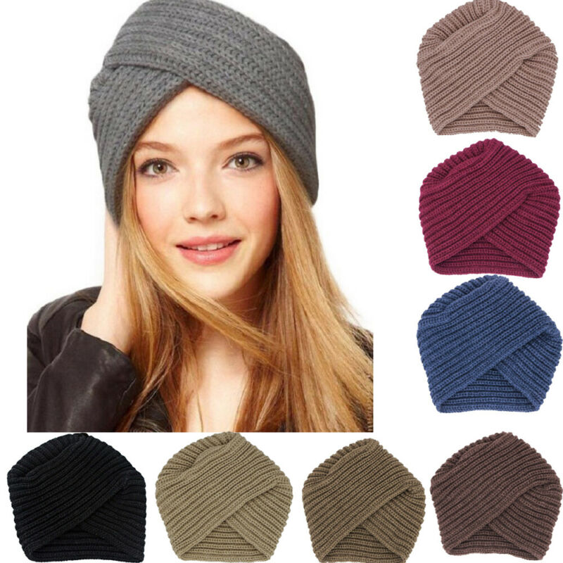 Nueva moda mujer señoras Estilo bohemio lana suave gorro tejido Crochet invierno cálido informal musulmán cruzado turbante sombrero negro Rosa café