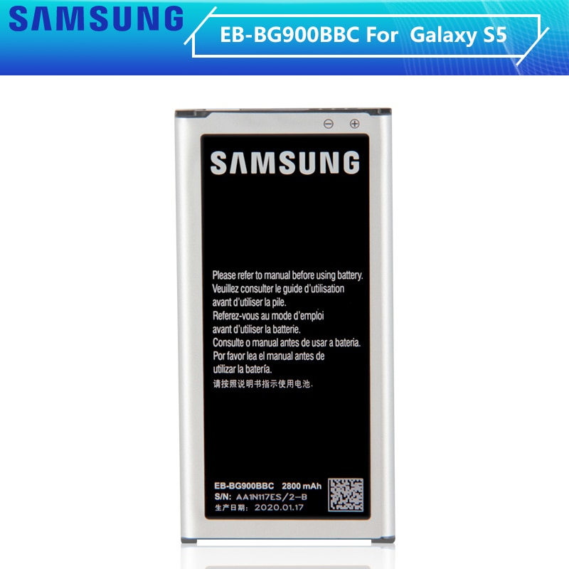 SAMSUNG batería Original EB-BG900BBE EB-BG900BBC EB-BG900BBU para Samsung Galaxy S5 SM-G870A G900S/F/M/FD G9008V 9006 V/W 2800mA