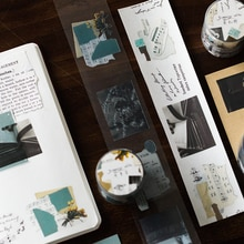 Yoofun 45mm*3m Skipping Notes Waterproof PET RetroTapes  for Journal Scrapbooking Junk Collage StationerySchool Office Supplies