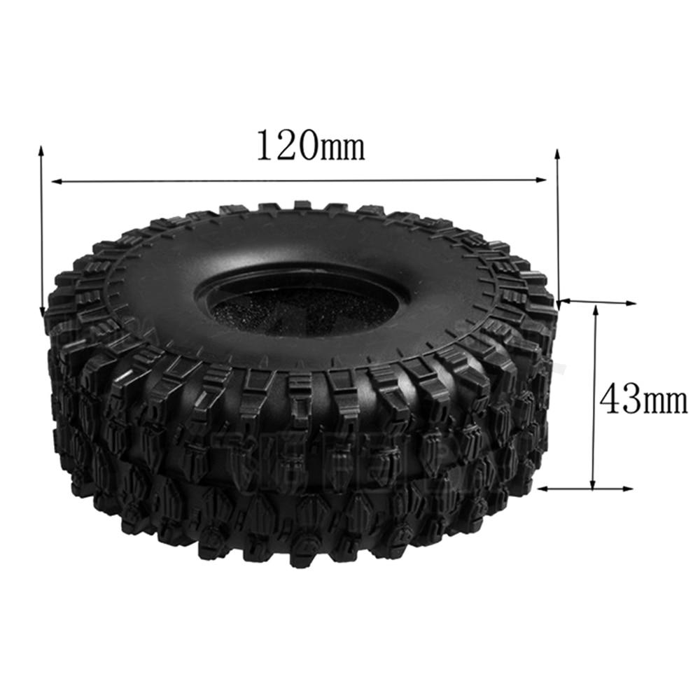 4 шт. 120 мм 1,9 дюйма резиновые шины/колесные шины для 1:10 RC Rock Crawler Axial SCX10 90046 AXI03007 D90 D110 TF2 Traxxas TRX-4