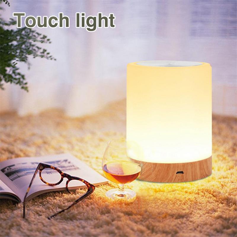 Luz táctil Led de noche USB recargable mesa de grano de madera mesita de noche lámpara para lactancia 6 colores luz ajustable bebé dormir habitación lámpara de noche
