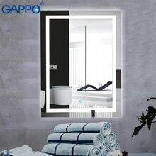 Gappo espejos de Baño Led espejo cosmético montado en la pared luces espejo de maquillaje de baño rectángulo Interruptor táctil luz ajustable