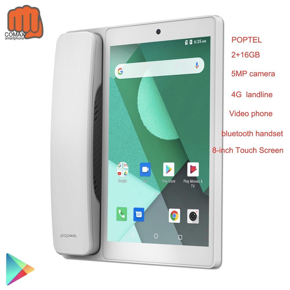 Teléfono Inteligente android 8,1 Poptel inalámbrico, teléfono fijo, 8 pulgadas, 2g/16g, teléfono móvil con bluetooth, videollamada