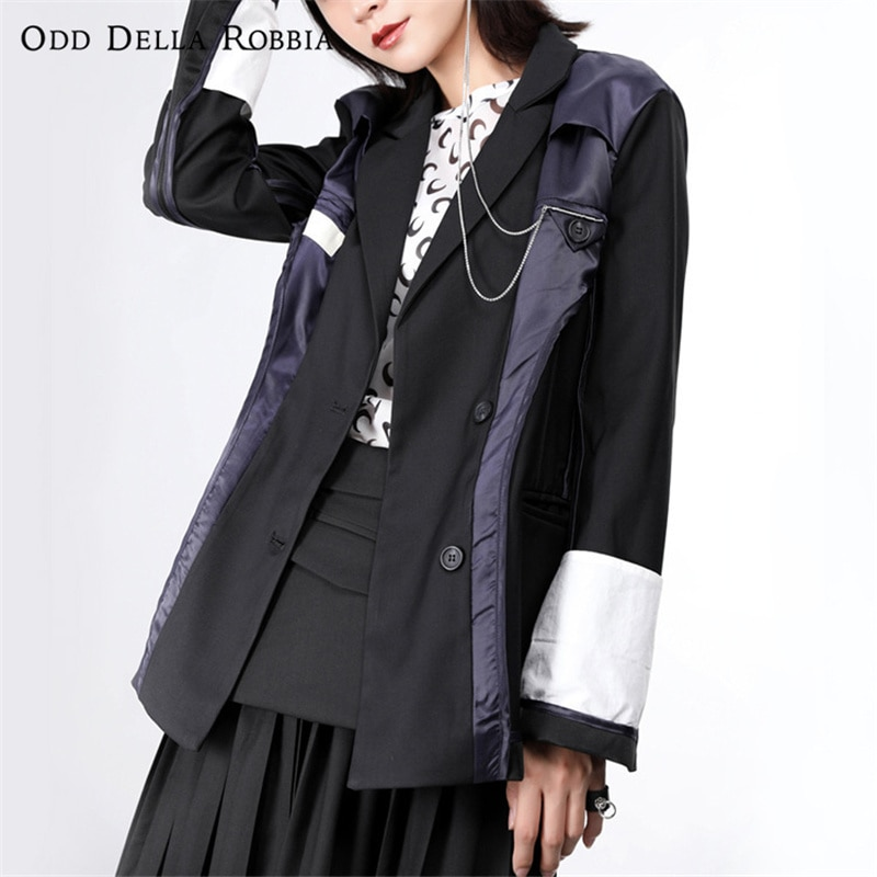 OddDellaRobbia Women Blazer Korean Style Fashion Stitching Color Matching Single Breasted Long Sleeved Suits Coat OL Jacket 512
