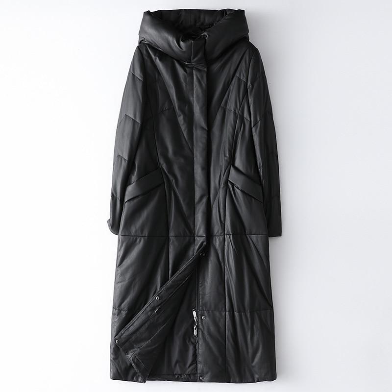 New Hooded Leather Down Winter Women Jacket  Fashion Sheepskin Coat Simple Loose Long Solid Black Casual Office Female Outwear