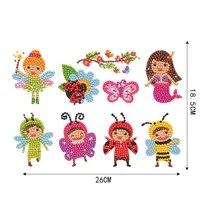 5d diy full drill round cartoon girls diamond painting puzzle children sticker diamond paintings sticker