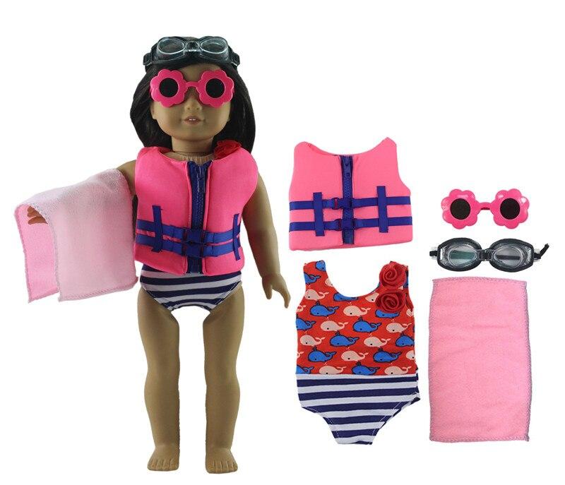 Nuevo juego de traje de baño 5 en 1 ropa de muñeca + gafas + toalla para muñeca americana de 18 pulgadas