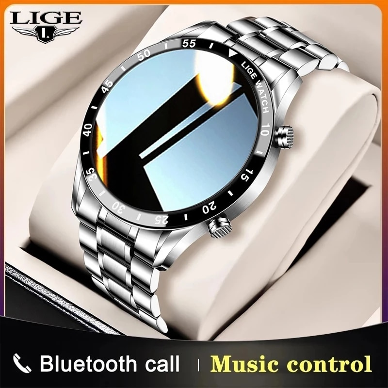 LIGE Men Smart Watch Bluetooth Call Blood Pressure Heart Rate Monitoring Multifunctional Sports Watc