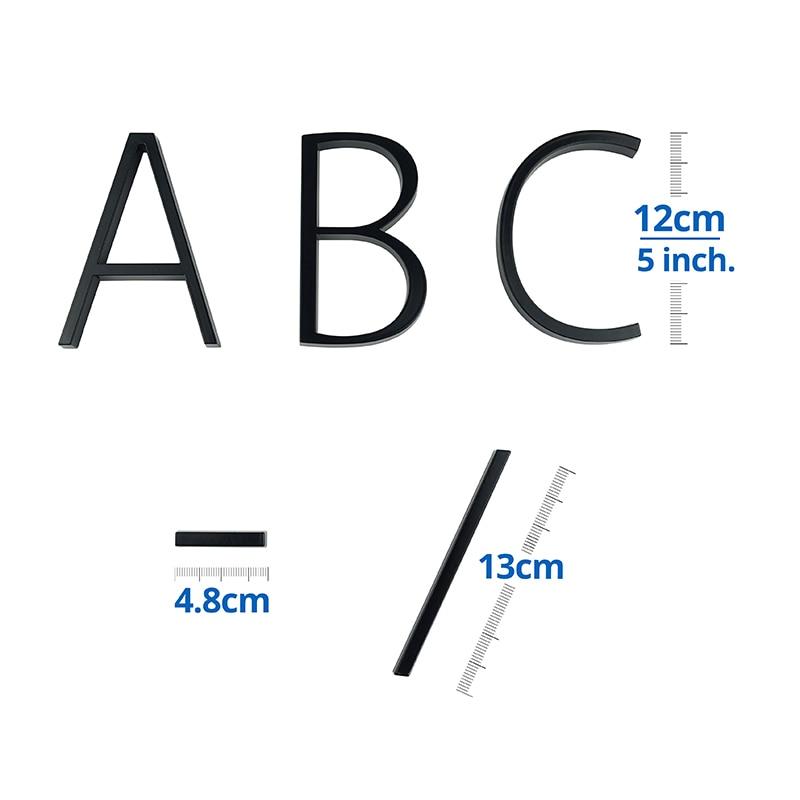 Купить с кэшбэком 12cm Floating House Number Letter A B C Door Alphabet Letters Name Plate Dash Slash Sign 5 Inch.Zinc Alloy Black