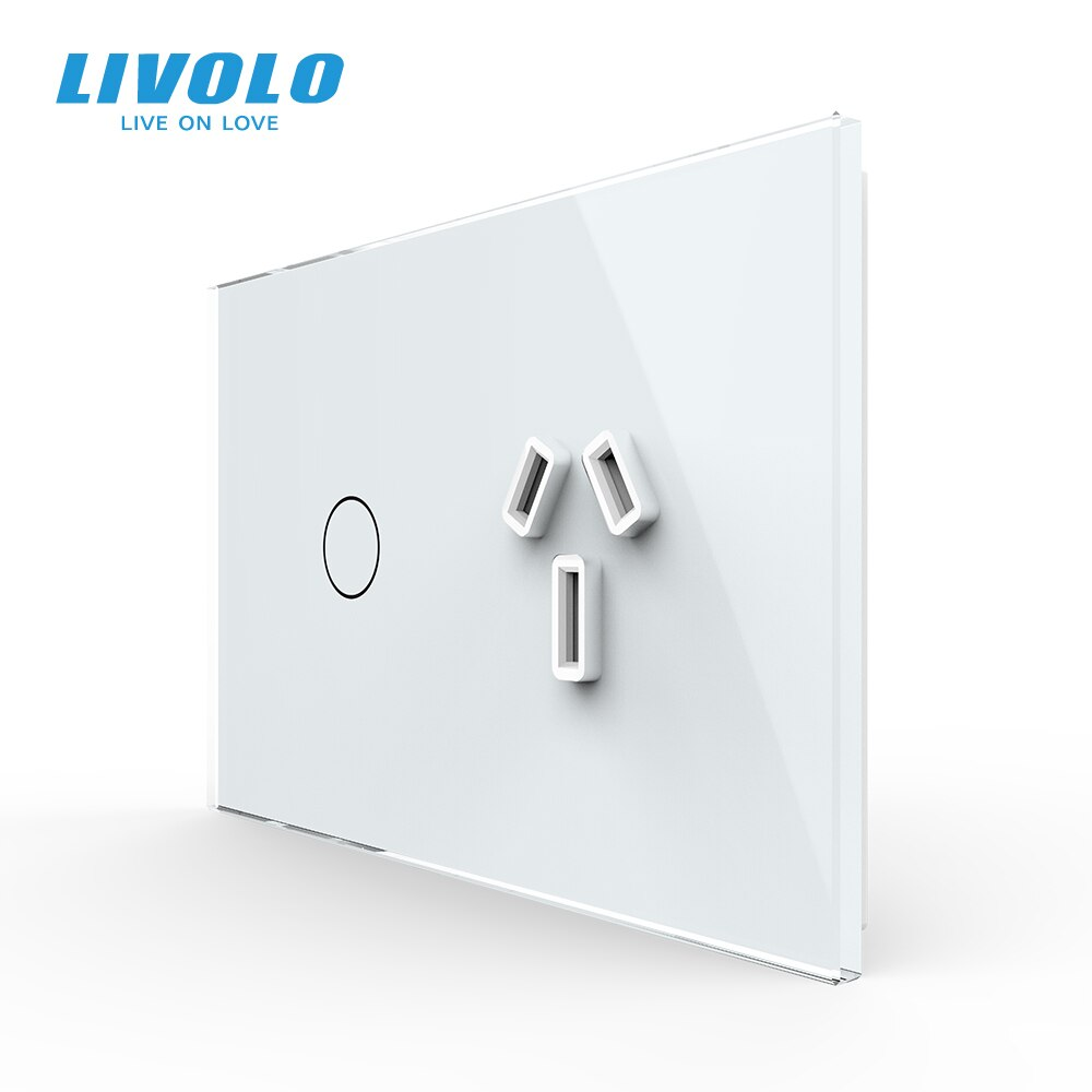 Livolo AU Standard 10A 13A مقبس الطاقة ، مع لوحة الكريستال والزجاج الأبيض ، أستراليا مقبس الطاقة ، مؤشر led ، التحكم عن بعد