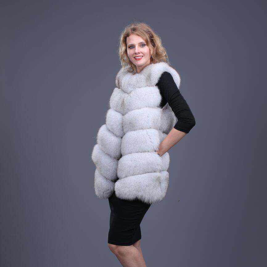 2021 New Real Fox fur Women Vest Long Leather Fashion Luxury Thick Warm Coat Jacket Solid Color Fur Vests Women Coats