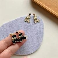 black and white bear earrings 925 silver needle earrings bowknot bear earring animal stud earrings for women girls