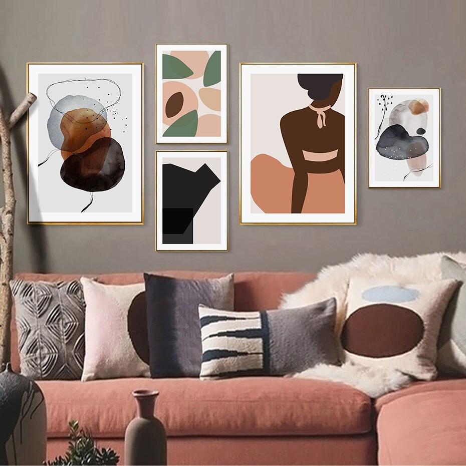 Coloridos círculos abstractos galería moda mujer lienzo de pintura pared arte Poster imprimir imágenes sala de estar decoración Interior del hogar
