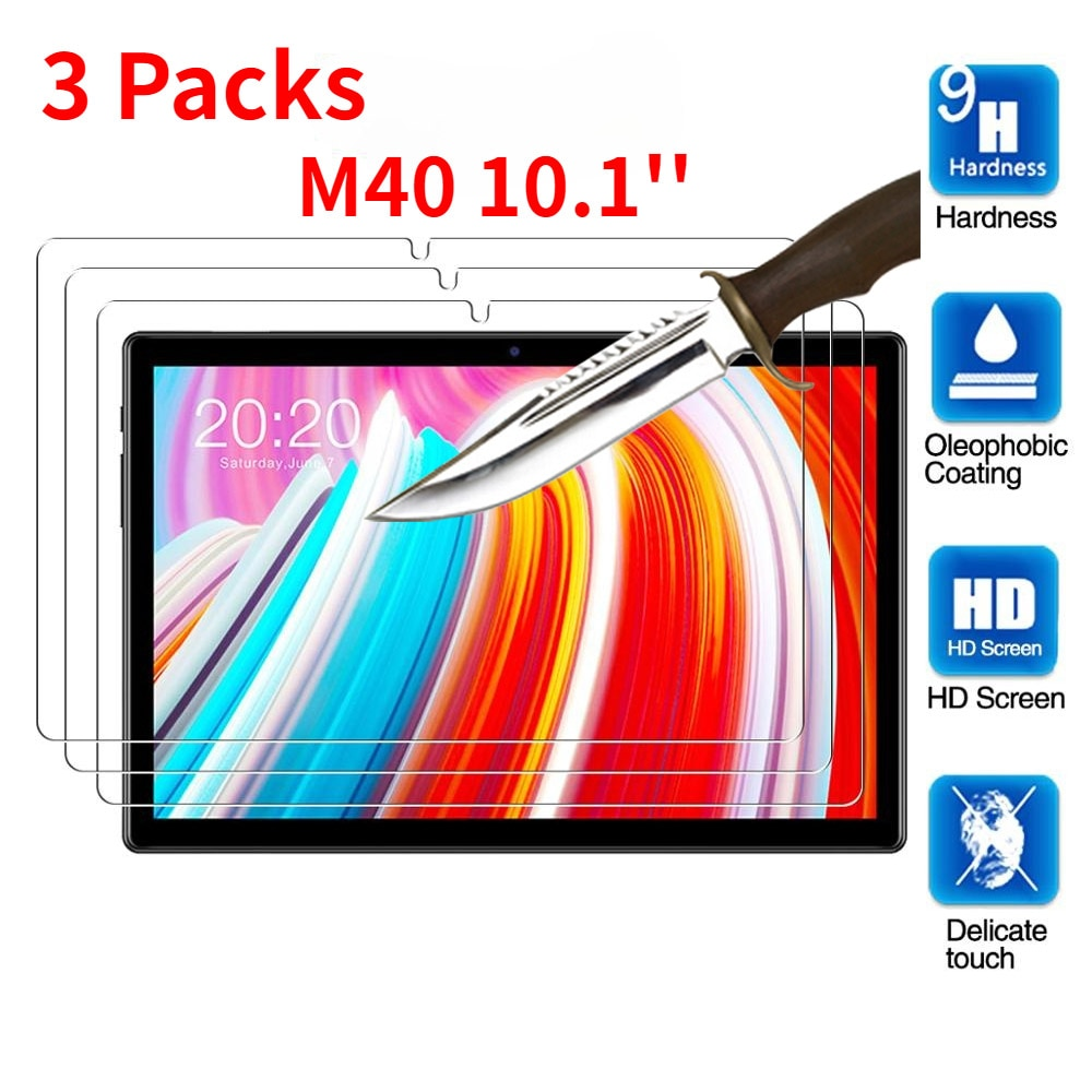 3 Packs Tempered Glass for Teclast M40 10.1 inch Screen Protector Tablet Protective Film Anti-Scratch Tempered Glass