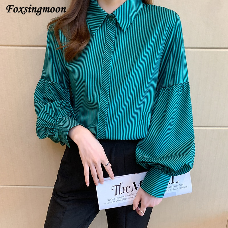 Women Blouse 2021 Chiffon Long Sleeve Stitching Stripes Shirt Women Simply Solid Color Single Breasted Shirts Office Chemise