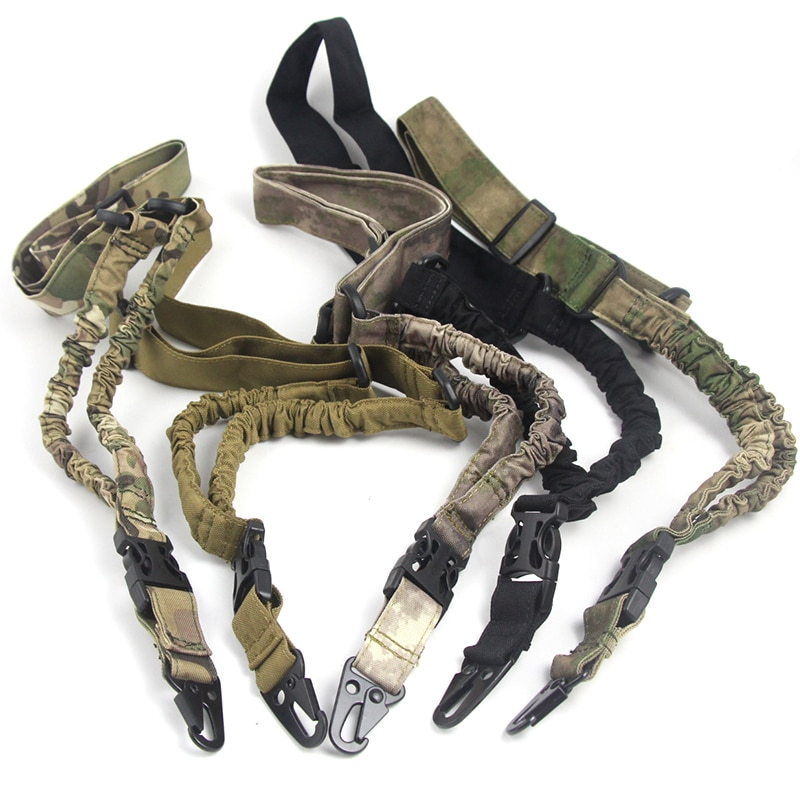Tactical Gun Sling Single 1 Point Airsoft Heavy Duty Rifle Sling Military Nylon Bungee Belt Gun Accessories Hunting Rifle Strap magorui heavy duty tactical one single point sling adjustable bungee rifle gun sling strap