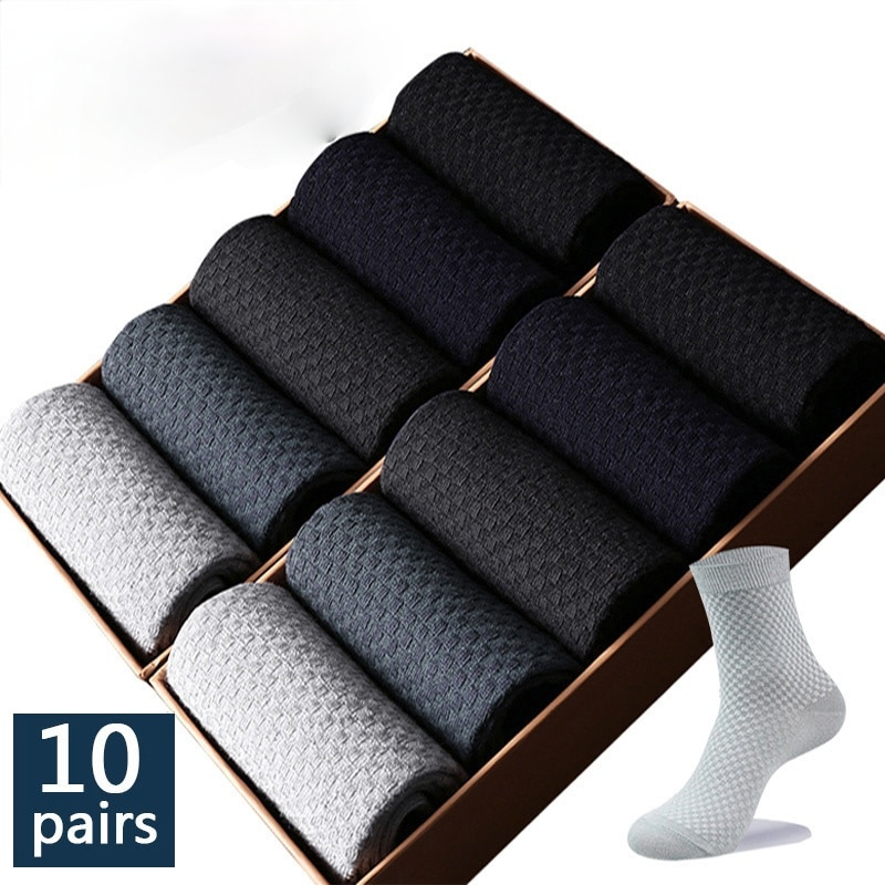 High Quality 10 Pairs/lot Men Bamboo Fiber Socks Men Breathable Compression Long Socks Business Casual Male
