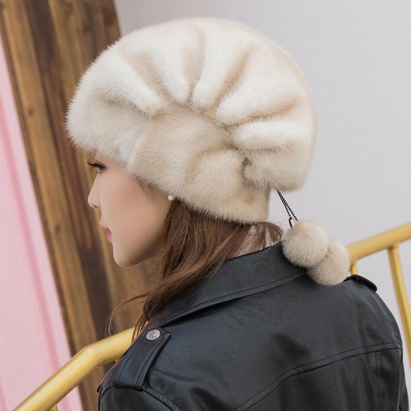 Natural Mink Beret,Women's Luxury Fashion Brand,Women's High-quality Warm Hood,Winter Women's New Fur Hat