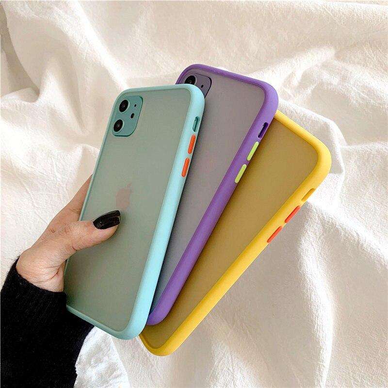 Mint Hybrid Einfache Matte Stoßstange Telefon Fall für Iphone 11 Fall Pro Max Xr Xs 6s 8 7 Plus stoßfest Weiche Tpu Silikon Matte Abdeckung