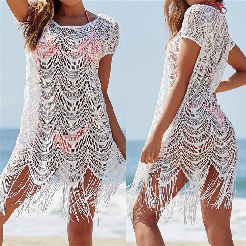 Weiß Spitze Abdeckung Ups Quaste Bademode Sommer Sexy Bikini Pareo Strand Cover Ups Bademode Frauen Kleid Badeanzug Cover up # Q560