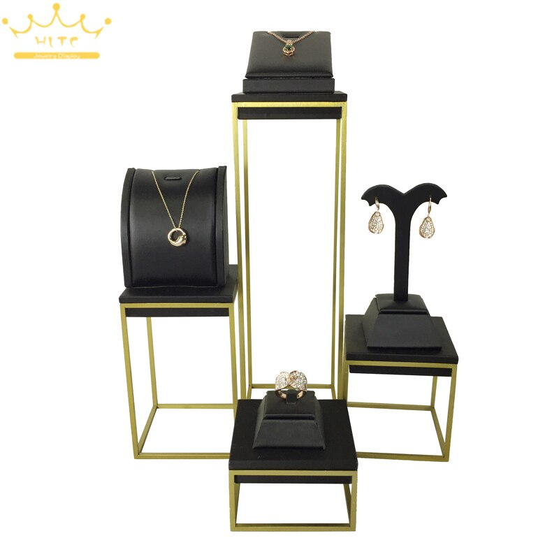 Mostrador de joyería estante de exhibición joya en piel negra organizador collar anillo de exhibición pendiente de exhibición