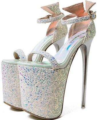 Sandálias de celebridades on-line 20 cm odeio alta uma fivela dedo do pé aberto stiletto super salto alto sapatos sexy novas lantejoulas sapatos de boca de peixe