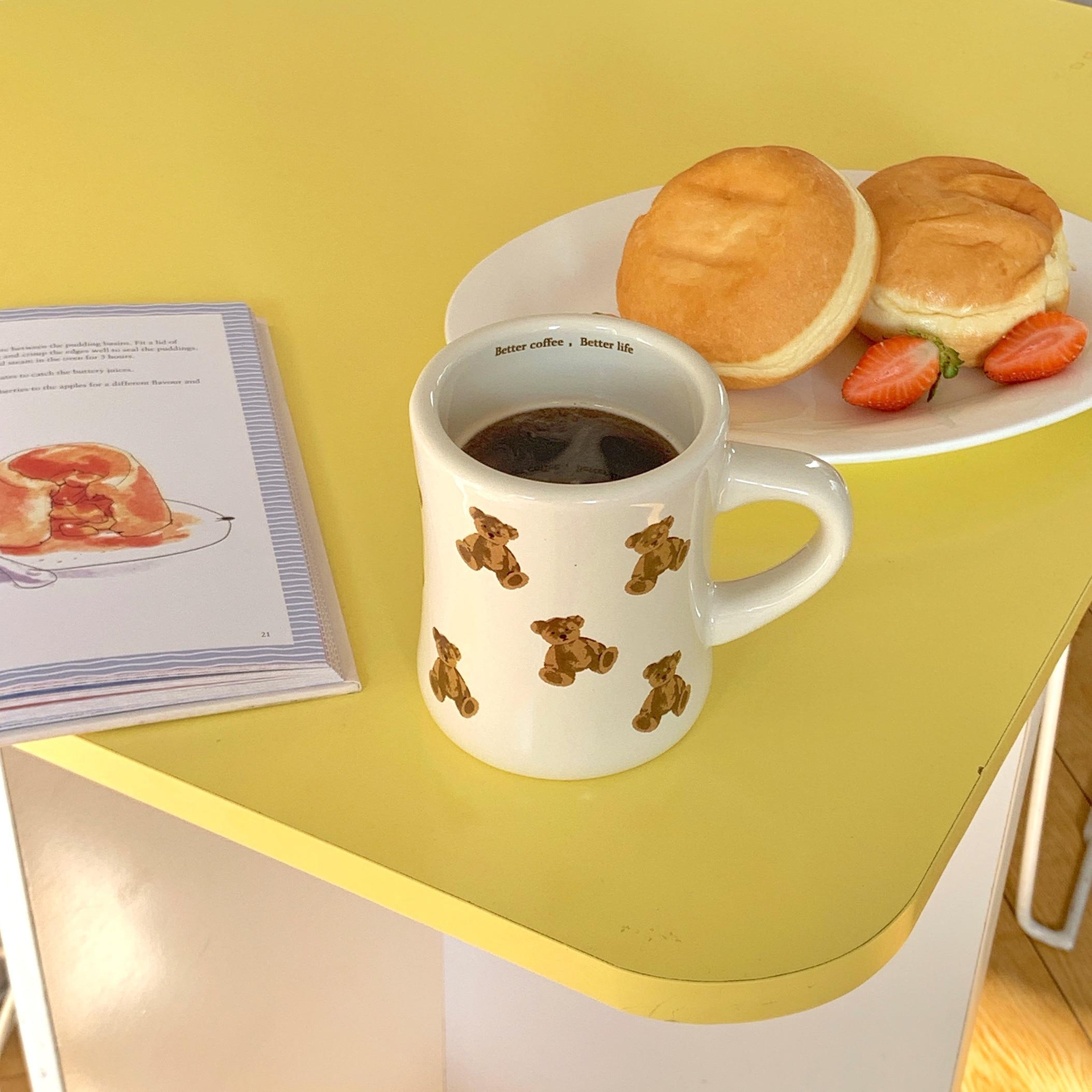 الكورية المتخصصة Kawaii الشوكولاته الدب القدح فتاة الرجعية فنجان القهوة بعد الظهر الشاي مج سيراميك جميل