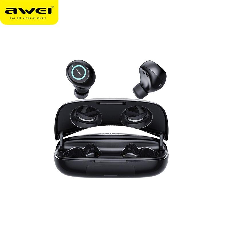 Водонепроницаемые Беспроводные Наушники AWEI T19, TWS Bass Bluetooth5.0, игровые наушники, мощный Hi-Fi качественный звук с двойным микрофоном