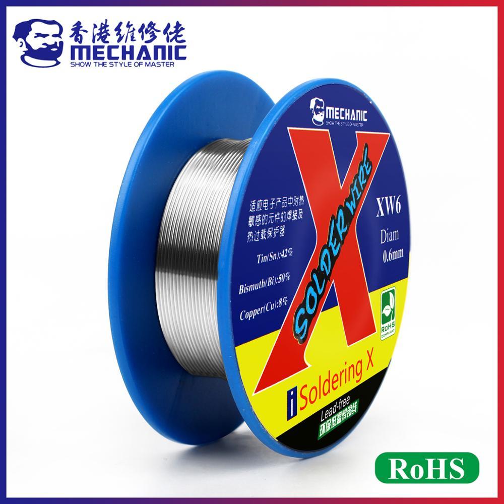 MECHANIC High-Purity 50g 0.5/0.6mm Rosin Core Lead-Free 138℃ Real Low Melting Point Solder Wire Welding Flux Sn 42%/Bi 50%/Cu 8%