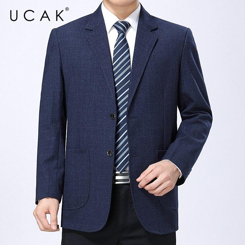 UCAK-جاكيت رجالي ربيعي غير رسمي ، بدلة ، بليزر ، لون عادي ، قصة فضفاضة ، ملابس الشارع ، U8149