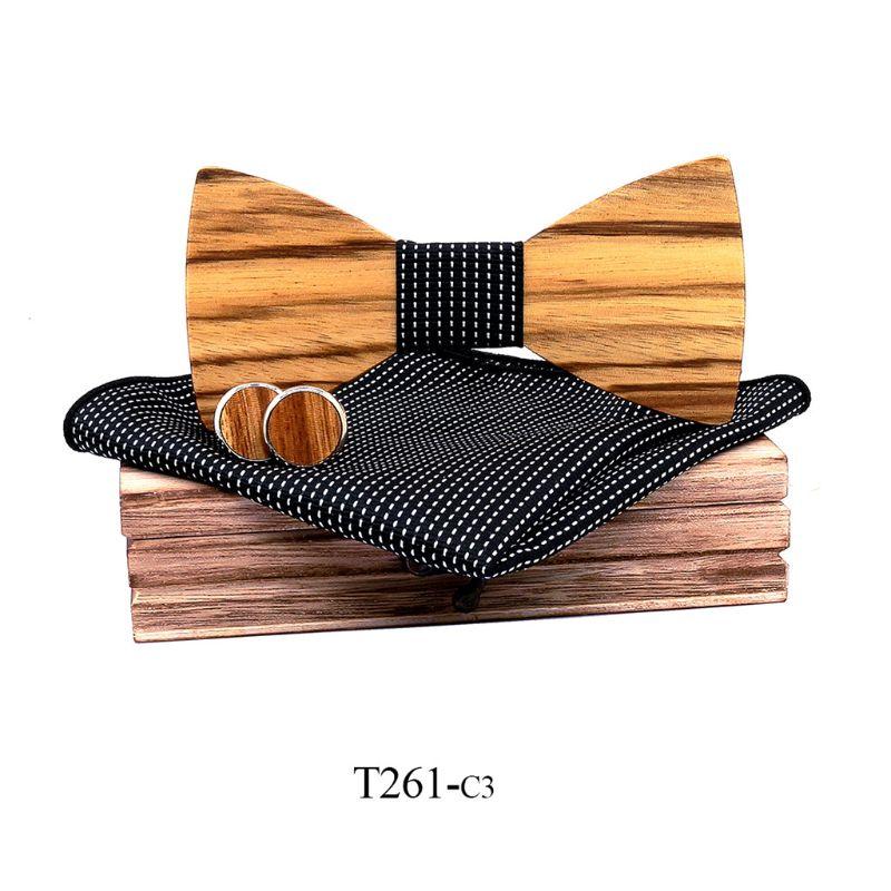 Zebra Grain Wooden Bow Tie For Men Male Trendy Necktie Wood Bowtie Handkerchief Cufflinks Set Box 2XPC