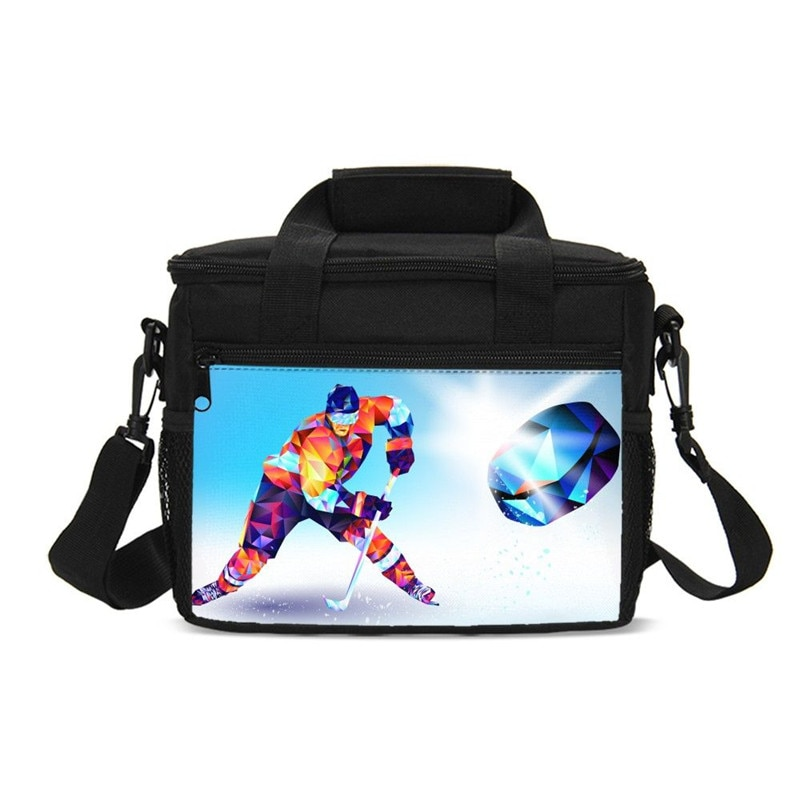 Pequeña bolsa de almuerzo Cool deportes patinaje sobre hielo 3D impresión bolsa de hielo aislamiento térmico Picnic lonchbox bolsos al aire libre saco A principal