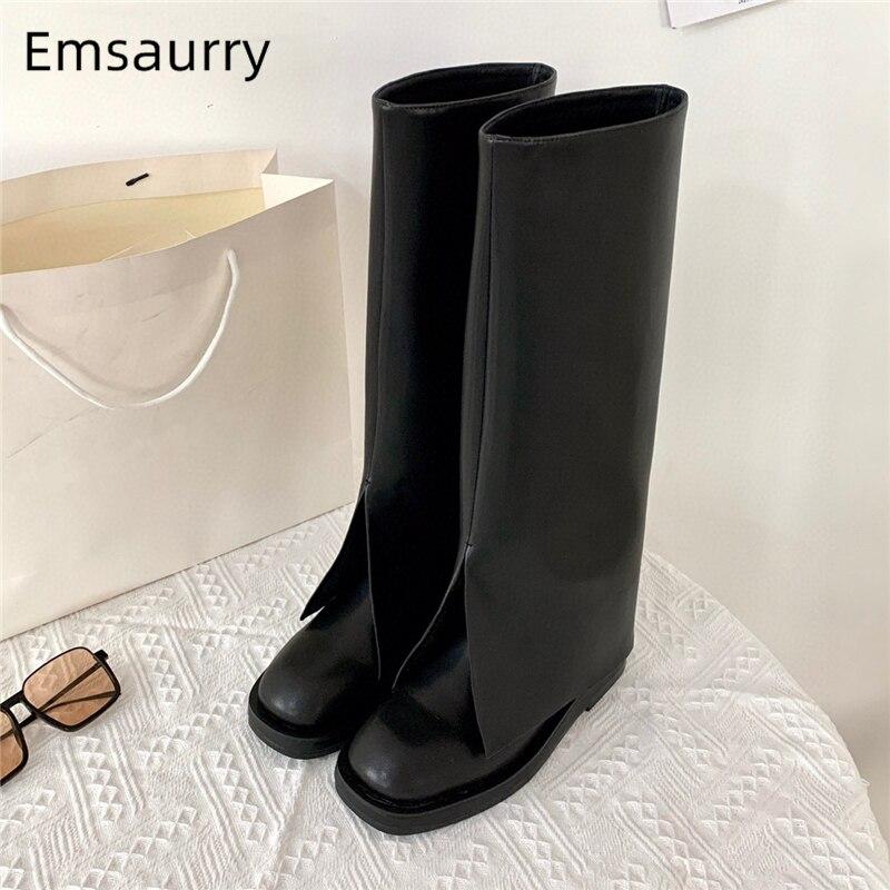 أحذية نسائية عصرية من الجلد الحقيقي للخريف والشتاء موضة 2021 بمقدمة دائرية حذاء مرتفع يصل إلى الركبة بكعب سميك