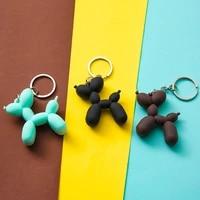 cartoon keyring key chains 3color soft rubber pvc stereo keychain nice gift pendant car interior korean style balloon dog